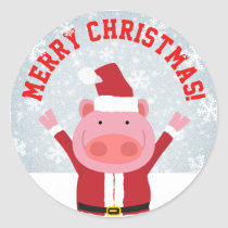 Merry Christmas Piglet Classic Round Sticker