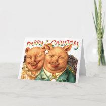 Merry Christmas Pigs Vintage Postcard Art
