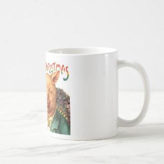 Merry Christmas Pigs Vintage Postcard Art Coffee Mug