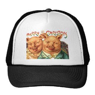 Merry Christmas Pigs Vintage Postcard Art Trucker Hat