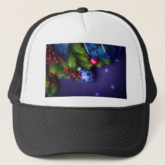 Merry Christmas Pine Boughs Blue Trucker Hat