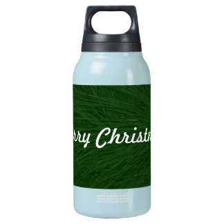 Merry Christmas Pine Tree Close Up Insulated Water Bottle