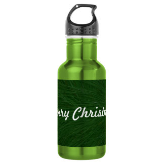 Merry Christmas Pine Tree Close Up Stainless Steel Water Bottle