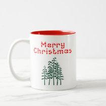 Merry Christmas Pine Trees Red Two-Tone Coffee Mug