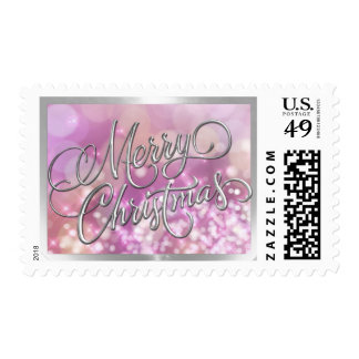 Merry Christmas Pink and Peach Lights Postage Stamp