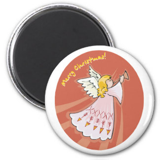 Merry Christmas Pink Angel 2 Inch Round Magnet