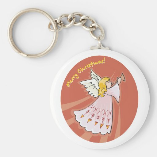 Merry Christmas Pink Angel Basic Round Button Keychain