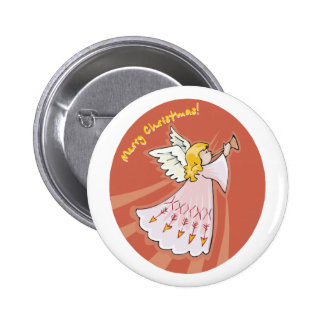 Merry Christmas Pink Angel Button