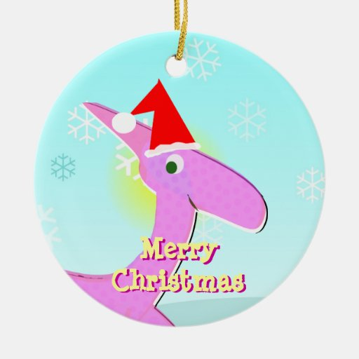Merry Christmas Pink Cartoon Dinosaur Ornament