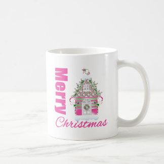 Merry Christmas Pink Decorated Christmas House Coffee Mugs