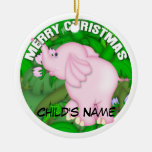 Merry Christmas Pink Elephant Christmas Tree Ornaments