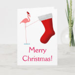 [ Thumbnail: Merry Christmas! - Pink Flamingo Silhouette Card ]