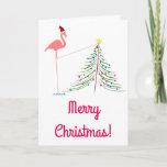 [ Thumbnail: Merry Christmas! - Pink Flamingo Silhouette Card ]