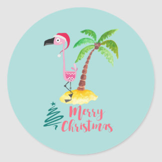 Merry Christmas Pink Flamingo With Palm Tree Classic Round Sticker