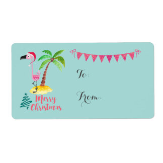 Merry Christmas Pink Flamingo With Palm Tree Gift Label