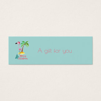 Merry Christmas Pink Flamingo With Palm Tree Gift Mini Business Card