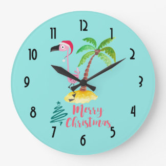 Merry Christmas Pink Flamingo With Palm Tree Large Clock