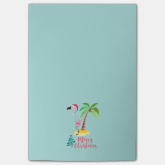 Merry Christmas Pink Flamingo With Palm Tree Post-it Notes
