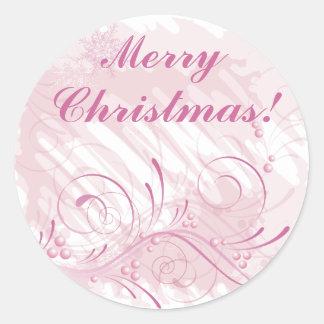 Merry, Christmas! pink grunge Classic Round Sticker
