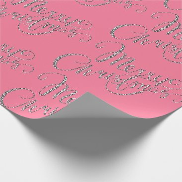 Christmas Themed Merry Christmas - Pink Leopard Print Wrapping Paper