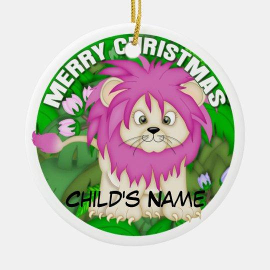 Merry Christmas Pink Lion Ceramic Ornament
