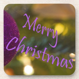 Merry Christmas Pink Ornament Beverage Coaster