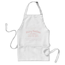 Merry Christmas Pink Personized Name Adult Apron
