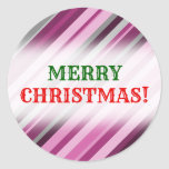 "[ Thumbnail: ""Merry Christmas!"" + Pink/Purple/Grey Stripes Round Sticker ]"