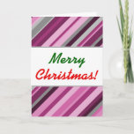 "[ Thumbnail: ""Merry Christmas!"" + Pink/Purple/Grey Stripes Card ]"