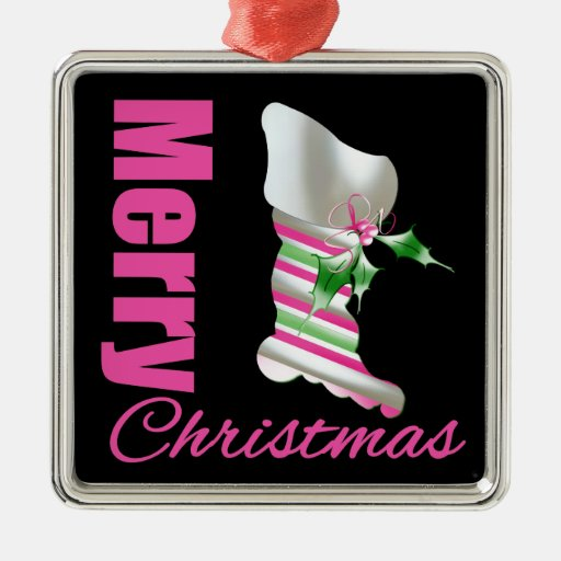 Merry Christmas Pink Stocking Christmas Ornaments