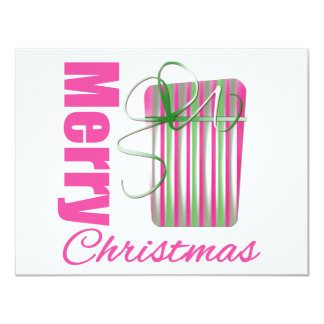 Merry Christmas Pink Whimsical Gift Box Invitations