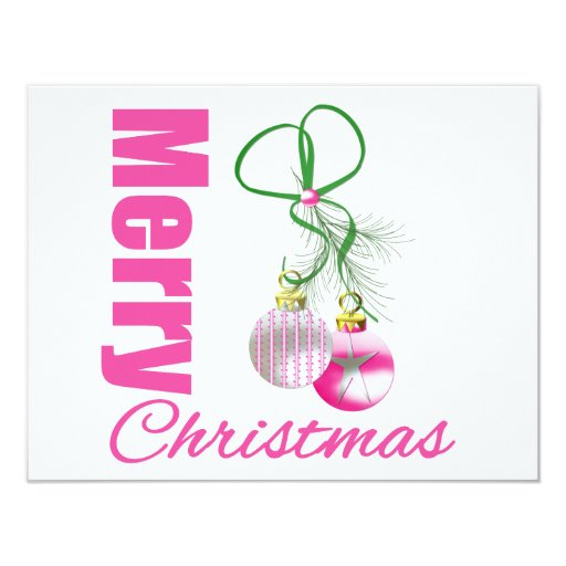 Merry christmas pink whimsical ornaments v2 4 25x5 5 paper invitation