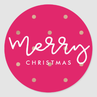 Merry Christmas Pink with Gold Look Dots Classic Round Sticker