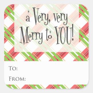 Merry Christmas Plaid    Holiday Gift Tag