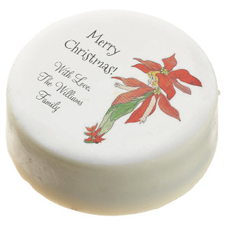 Merry Christmas Poinsettia Cute Flower Child Chocolate Covered Oreo