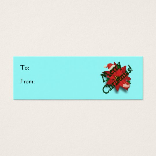 Merry Christmas Poinsettia Holiday Gift Tag