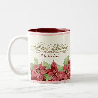 Merry Christmas Poinsettia Personalized Gift Mug