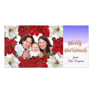 Merry Christmas Poinsettia Photo Card