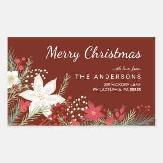 Merry Christmas Poinsettia & Pine Return Address Rectangular Sticker