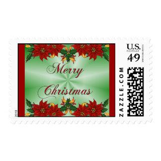 Merry Christmas Poinsettia Postage Stamp