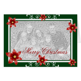 Merry Christmas Poinsettia Swirl Frame Greeting Card