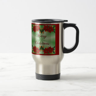 Merry Christmas Poinsettia Travel Coffee Mug