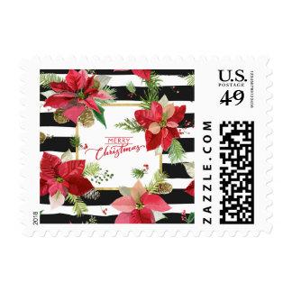 Merry Christmas Poinsettias, Black Stripes Postage