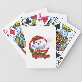 Merry Christmas Polar Bear Bicycle Poker Cards