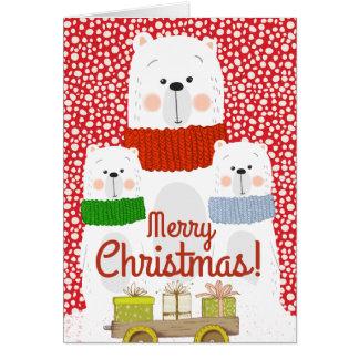 Merry Christmas Polar Bear Family Card