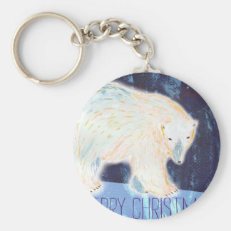 Merry Christmas Polar Bear Keychain