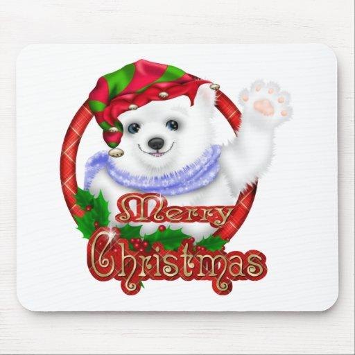 Merry Christmas Polar Bear Mouse Pads