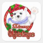 Merry Christmas Polar Bear Stickers