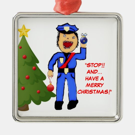 merry christmas police officer metal ornament - Police Officer Christmas Decorations