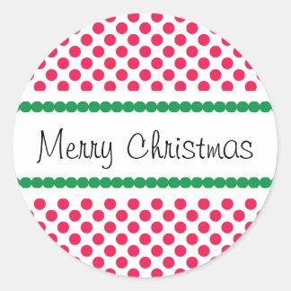 Merry Christmas Polka Dot Classic Round Sticker
